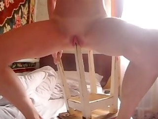 Teen playing with homemade sex toys