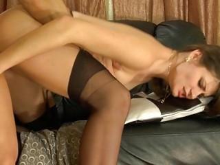 randy dark brown honey in nylons receives her