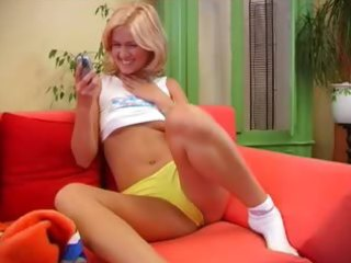 czech golden-haired princess loving a sextoy