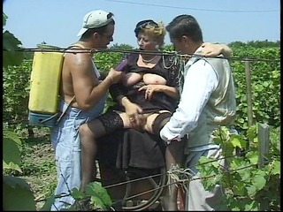 grandma acquires gang group-fucked in the corn