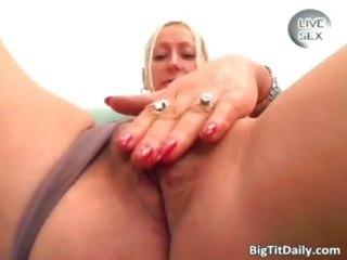 excited blond wench with large love melons fingers