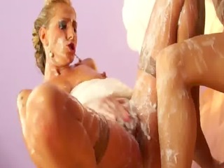 Bukkake drenched lesbian hotties
