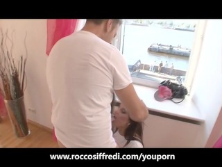 rocco siffredi has an intensive anal fishnet trio