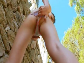 seductive moist fingering in the outdoor