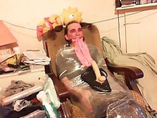 TV Nurse Clingfilmed Damp Panties in Mouth