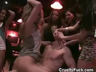 lustful sweethearts anguish male stripper in a