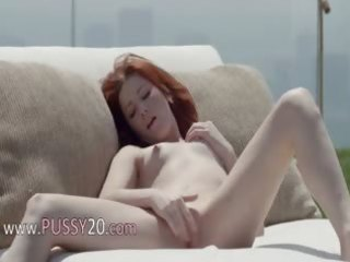 nice-looking redhead opening bawdy cleft outside