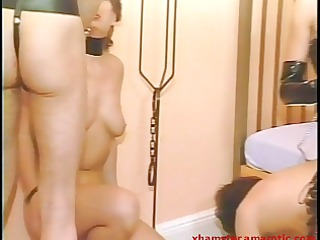 female-dom has enjoyment with her slaves