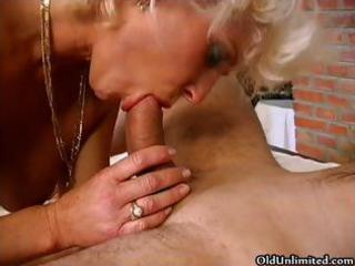 golden-haired older granny acquires down to