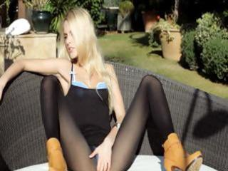 incredible golden-haired in shoes undressing
