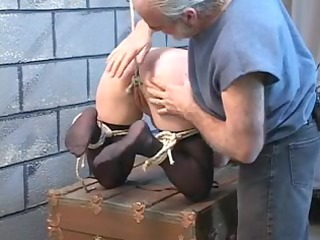 thick blond torment sufferer is restrained in