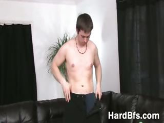 pleasant boy undresses and goes wild