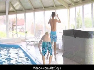 arpad & raoul play in a pool and jerk off in