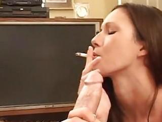 taylor rain smokes a cigarette as she is sucks