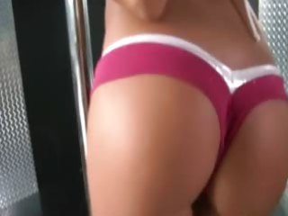 sweet angel teasing in pink bikini