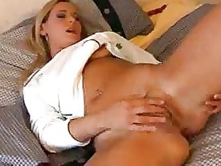 hairless snatch and a finger tickling her love