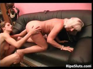 breasty golden-haired aged floozy acquires her