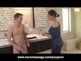 danni cole oils up her large bazookas for nuru