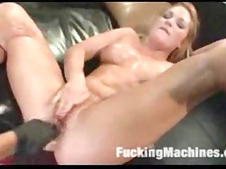 Juicy blonde and young brunette jerk and machine