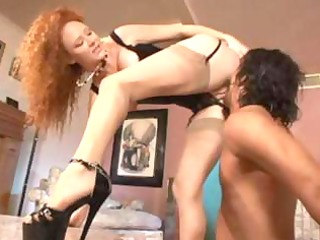 naughty redheaded floozy dominates his rod in her