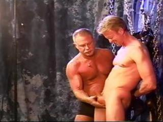 cbt blond muscle chap is restrained and suspended