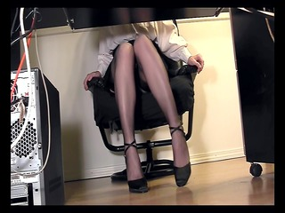 leggy secretary below desk voyeur webcam