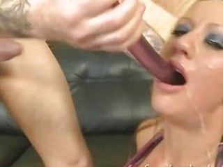 very coarse sex-toy rammed in throat of hotty