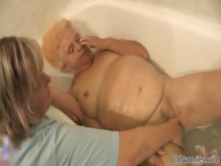 naughty old woman receives her hirsute slit
