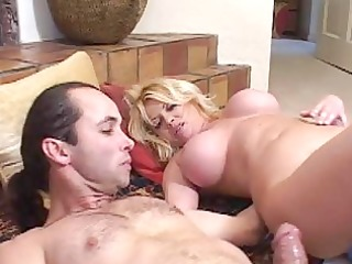 sassy blond woman does fellatio for rocker chap