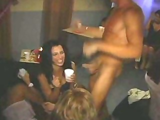 female stripper at bachelorette party gives facial