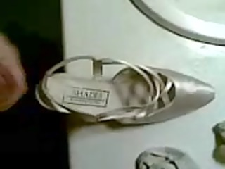 cumming in wifes weddingshoes