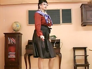 mother i in glasses and satin nylons receives