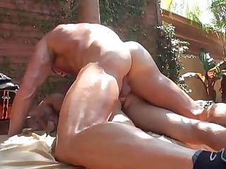 muscule man oily massage