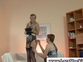 british lesbo flashes her nylons and bawdy cleft