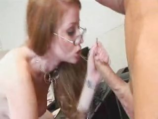 hot redhead with glasses and hirsute wet crack
