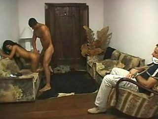 Brazilian Cuckold Fucked in Front of Husband by