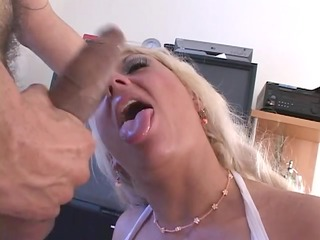 golden-haired playgirl sucks a hard penis