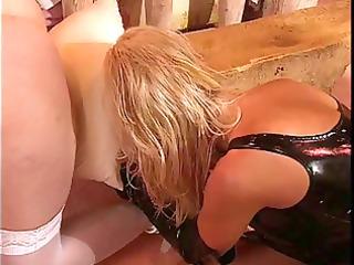 large tits, leather clad lesbo femdom-goddess