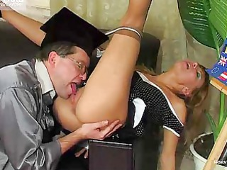 aged professor cums all over his student