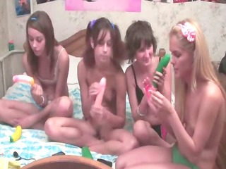 four russian teens in live show