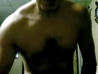 cum on cam: curly latino shows his hand full of
