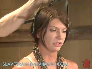 restrained with ropes brunette hair drilled