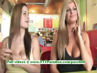 taryn and danielle breasty honeys public flashing