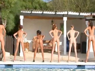 six undressed angels by the pool from europe