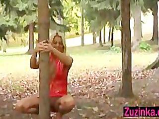 pole dance in a public parc in daylight