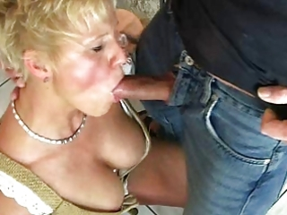 blonde mommy enjoys beer and cum