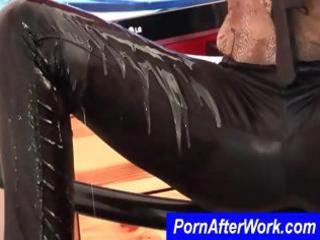 wet dark brown slut in darksome leather vibes her
