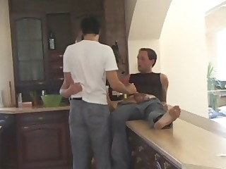 sexy golden-haired watches hubby engulf dong in a
