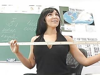 excited brunette hair teacher masturbating in
