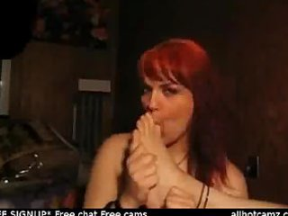sexy redhead self foot worship. live sex livecam